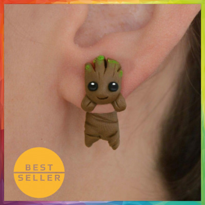 30 New Design Handmade Polymer Clay Cute Groot Stud Earrings Girls Kids Fashion