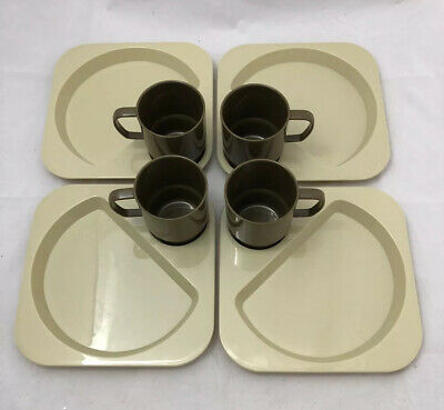 Vintage Decor Brian Davis and Company BBQ Trays and matching cups. Set Of (4).