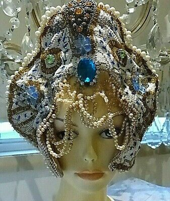 Stunning Original One Of A Kind Beaded Hollywood Costume Headpiece