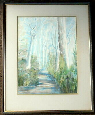 Indistinctly signed  framed watercolour of a forest path