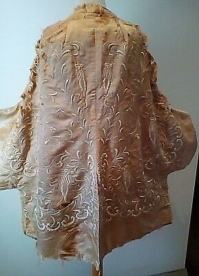 Antique Rare English Damaged Chinese Embroidered - Coat - Reversible Velvet Side