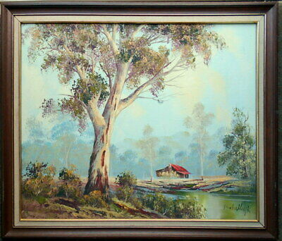 V Schalkwijk, framed oil on canvas/board  of an outback farm at a billabong