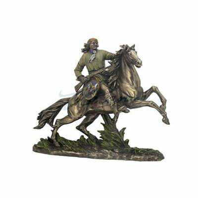 """Indian Apache Statue on Horse Ancient Indian Bronze Sculpture 11.82"""""""