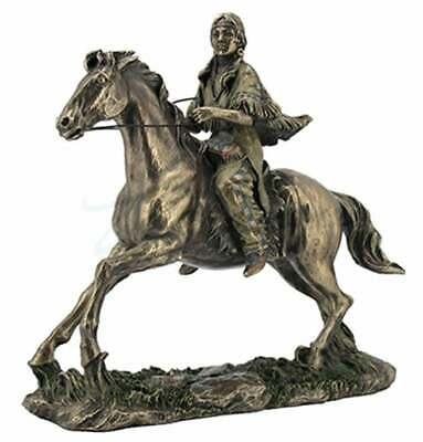 """Sculpture Indian Woman on Horse Ancient Hindou Indian Bronze Statue 10.85"""""""
