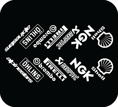 WHITE - Motorbike Belly Pan Sponsors Decals Stickers - SET OF 14 STICKERS