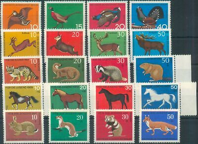 Germany (West Berlin) 1965-1969 Mi various Wildlife Youth Charity issues MNH