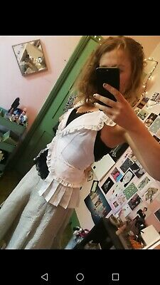 Gothic Lolita White Corset Style Lace Up Waistcoat With Frills size S