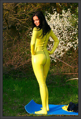 100% Latex Rubber Yellow Overall Tight Catsuit Bodysuit Zipper Sock 0.4mm S-XXL