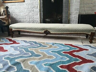 RARE decorative Antique Long Footstool / Fender Stool