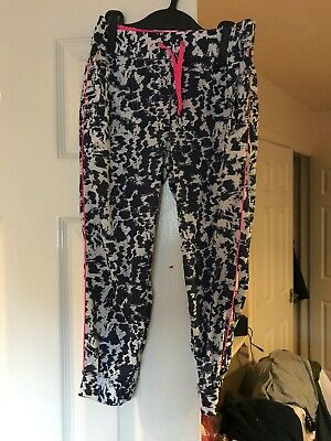 Next Girls Pants Loose Fit Trousers Blue white Pink 6 Yrs Mottled Summer Holiday