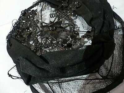 Antique French Jet - Wired -  Bonnet - Needs Repair Or Re-Use