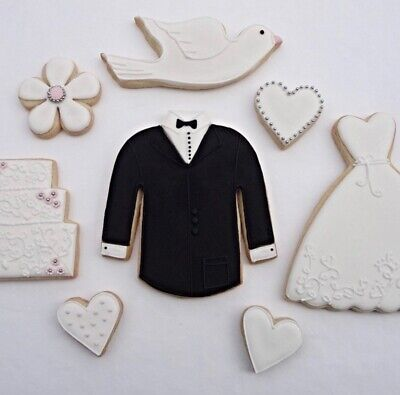 Lot of 5x Bride & Groom Wedding Cookie Cutters, Excellent Condition