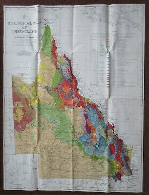 Extra Large Geological Map of Queensland 1953 - Australia