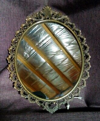 Antique Cast Brass Oval Wall Mirror. Acanthus Pattern.