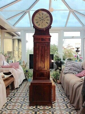 19th Century Figured Mahogany Edinburgh Drumhead Longcase Grandfather Clock