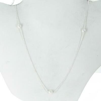 Authentic Pandora Silver Luminous White Crystal Pearl Necklace 80cm 590539WCP-80