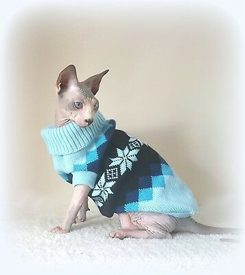 adult S BLUE Warm winter top for a Sphynx  cat clothes, jumper, sweate