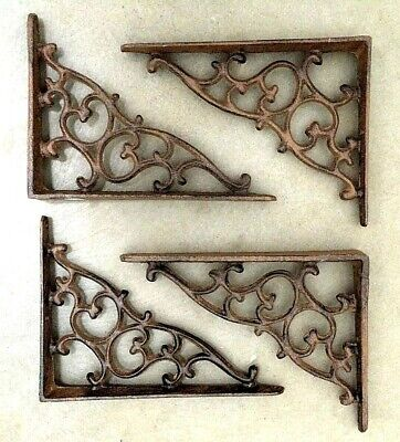 SET OF 4 ORNAMENTAL SHELF BRACKET BRACE Vintage Rustic Antique Brown Cast Iron