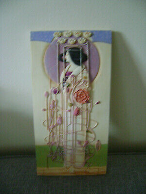 Art Deco porcelain hand crafted picture a lady with floral pattern wall hangi