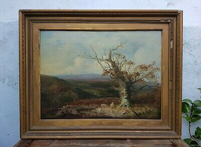 Original 19th Century Old Antique Impressionist Victorian Landscape Oil Painting