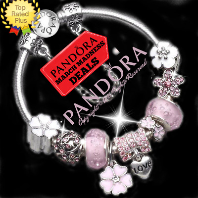 Authentic PANDORA CHARM Bracelet Silver Pink Flowers with European Charms New