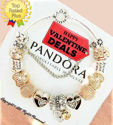 Pandora Charm Bracelet Silver Bangle VALENTINE Love Hearts with European Charms