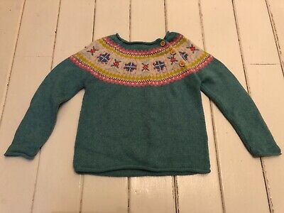 Mini boden girls duck egg blue knitted jumper - age 4-5 years