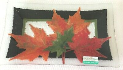 PEGGY KARR Fused Art Glass Autumn Maple Leaves Tray Signed Retired
