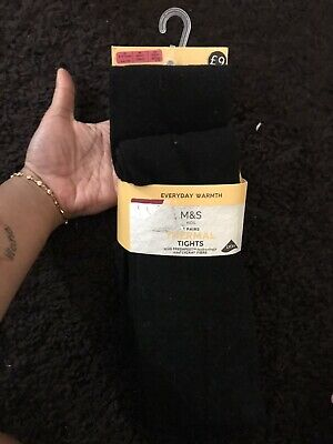 M & S Girls Black Thermal Tights Age 8/9Years 2 Pairs