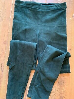 Elie Tahari Leather Suede High-Rise Roxanna Leggings, Green, Size Small