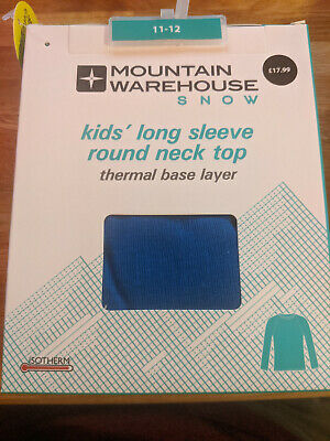 MOUNTAIN WAREHOUSE SNOW Thermal Base Layer Kid's Round Neck Top 11-12 yrs BLUE