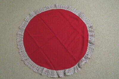 CHRISTMAS TABLECLOTH Circular Red with Christmas themed trim, Used good con