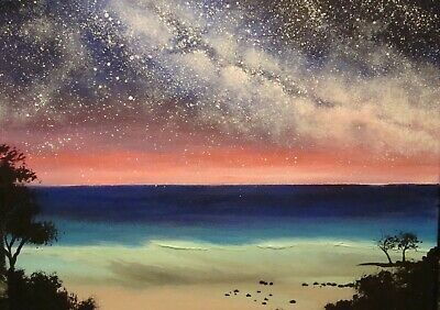 Beautiful serene hand painted acrylic painting 8 X 12 by Cmarie. Very talented.