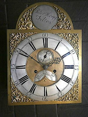 C1750 8 day   LONGCASE GRANDFATHER CLOCK DIAL+movement 12X17     PETER HOGG OF F