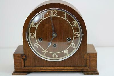 SMALL WESTMINSTER CHIMING MANTEL CLOCK 8 day OAK & CHROME platform escapement