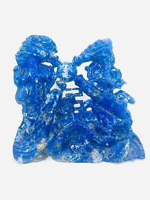 Antique Large Natural Lapis Lazuli Chinese Carved Stone Four Dragons Figure