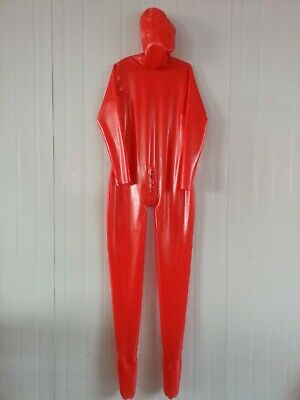 100% Latex Catsuit Rubber Red Full Cover Bodysuit With Mask Zipper 0.4mm S-XX