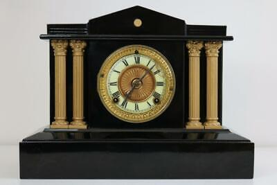 ANTIQUE MANTEL CLOCK by ANSONIA with BANK or TEMPLE ARCHITECTURAL CASE working