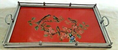 Vintage Serving Tray Art Deco Art Nouveau Mother of Pearl Birds in Tree Pink