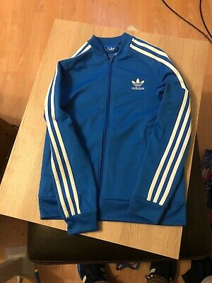 Boys Adidas Tracksuit Top Sports Zip Up Training Jacket Blue Age 11/12