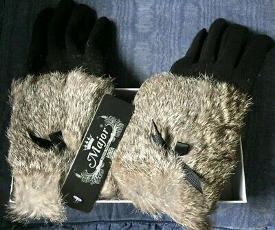 ~ Major Wear ~ Ladies Black Faux~Fur Trimmed Gloves ~ New With Tags ~