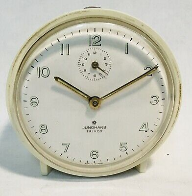 JUNGHANS Trivox wind up clock alarm clock GERMANY 1970's TESTED & WORKING