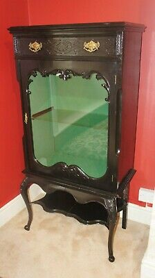 Antique Vintage Chinese Black Lacquered Glazed Display Cabinet Oriental Cupboard