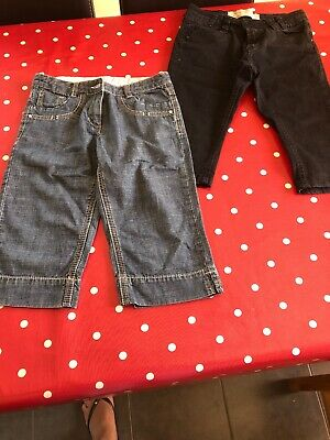 2 X Girls Denim 3/4 Length Trousers Age 9 Years