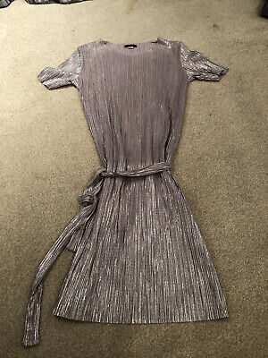 Girls Silver Metallic Dress river Island Age 11-12 Yrs Excellent