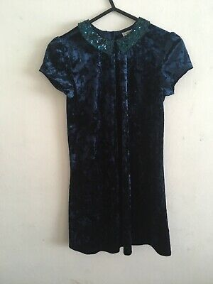 NEXT Navy Crushed Velvet Dress Age 9 Years Sequins Christmas Party