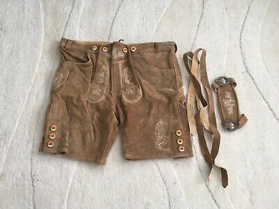 Men's Bavarian Lederhosen Cowhide/Real Leather With Matching Suspender Shorts