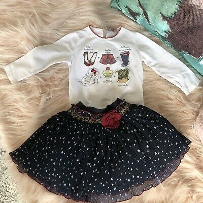 Monnalisa  18 m Girls Outfit Skirt And Top