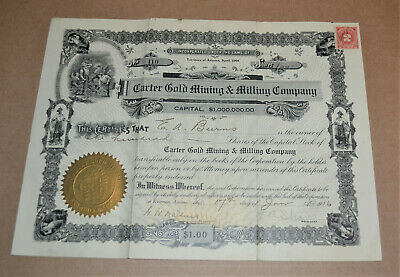 Carter Gold Mining & Milling Company 1916 antique stock certificate