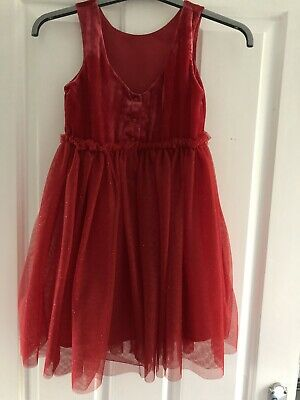 H & M Girls Red & Gold Glitter XMAS Party Dress Age 7-8 NEW with TAGS RRP £18.99